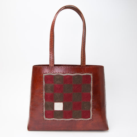 Banjara Embroidery - Red Leather Journey Bag - Pattern 2
