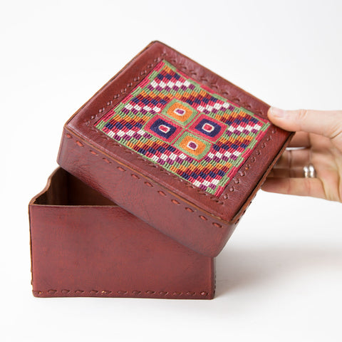 Banjara Embroidery - Red Leather Box - Pattern 3