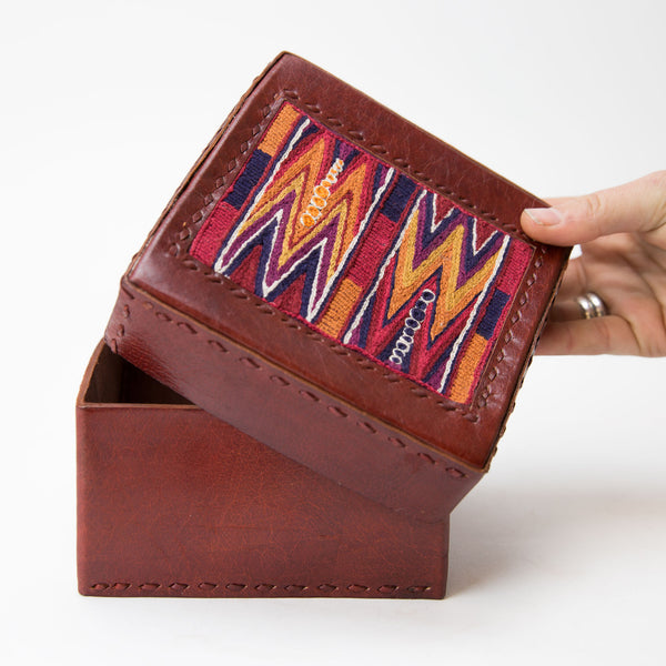 Banjara Embroidery - Red Leather Box - Pattern 2
