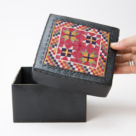 Banjara Embroidery - Black Leather Box - Pattern 3