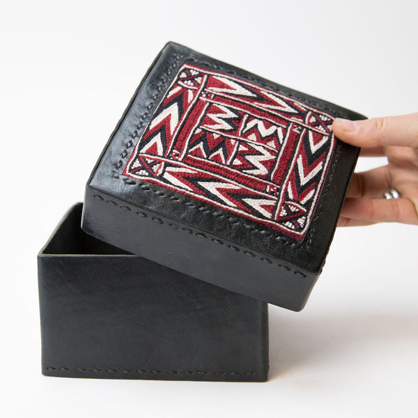 Banjara Embroidery - Black Leather Box - Pattern 1