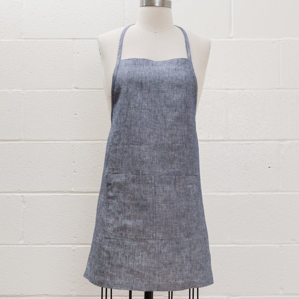 Maiwa Simple Apron - Heather Blue Linen