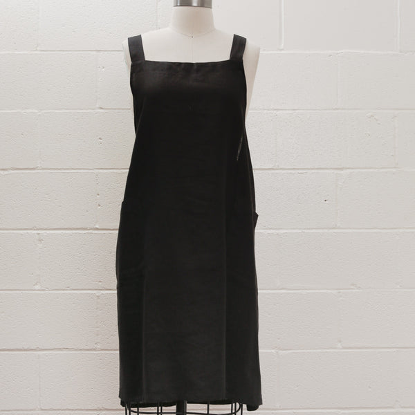 Maiwa Dress Apron - Black Linen
