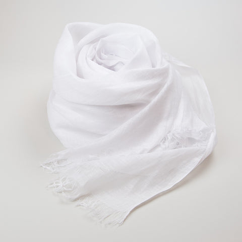 Shawl - Linen Superfine Handwoven With Fringe - Bright White