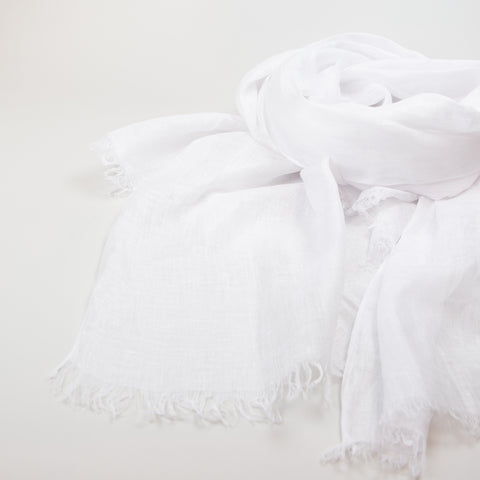 1/2 Dozen - Linen Superfine Handwoven Shawls With Fringe - Bright White