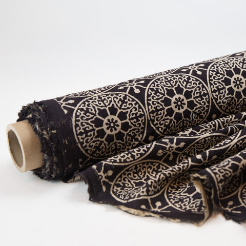 Fabric - Organic Cotton Block Printed with Natural Dyes - Black & White Compass