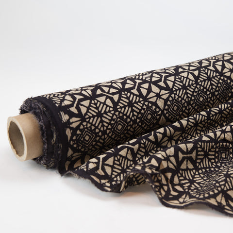 Fabric - Organic Cotton Block Printed with Natural Dyes - Black & White Grid Patterns