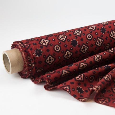Fabric - Organic Cotton Block Printed with Natural Dyes - Red, Black & White Diamonds