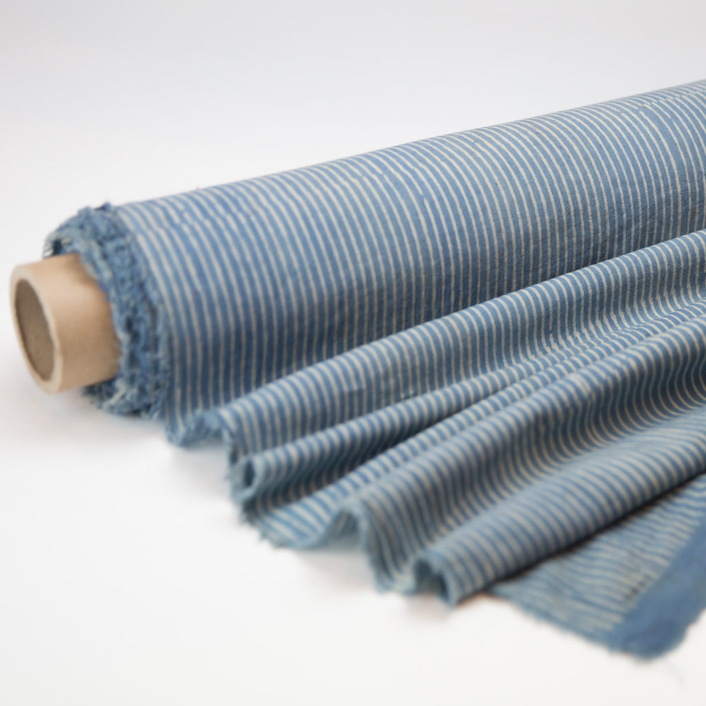 Fabric - Organic Cotton Block Printed with Natural Dyes - Indigo & White Stripes