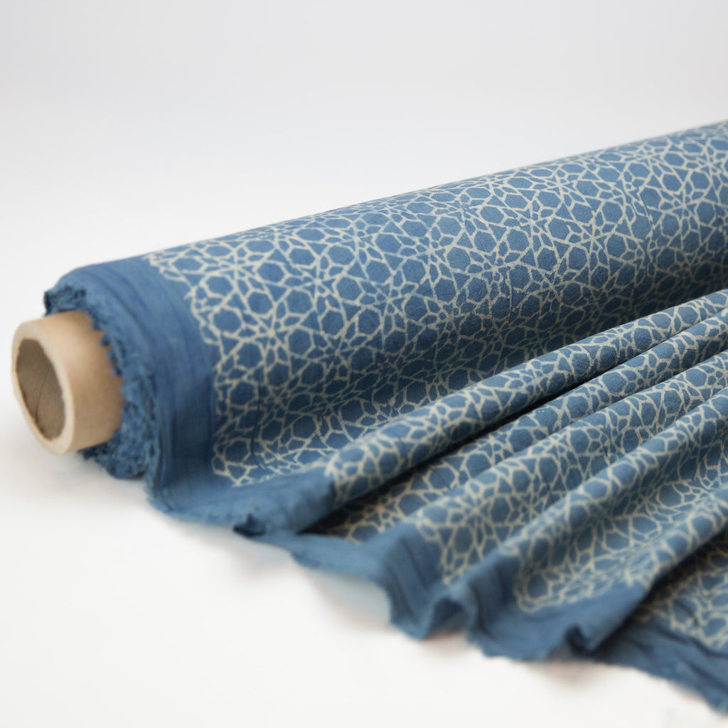 Fabric - Organic Cotton Block Printed with Natural Dyes - Indigo & White Star Tiles