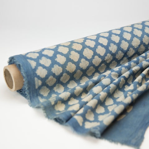 Fabric - Organic Cotton Block Printed with Natural Dyes - Indigo & White Cloud