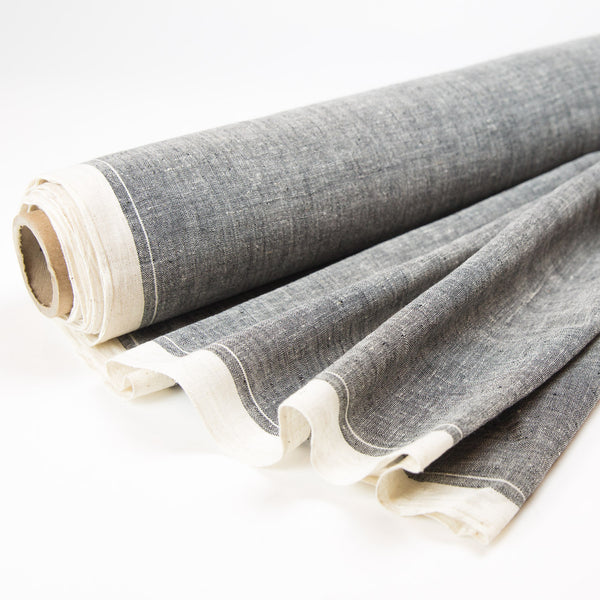 Fabric - Organic Cotton Handwoven Khadi - Textured Grey with White Selvedge
