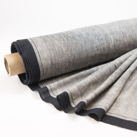 Fabric - Organic Cotton Handwoven Khadi - Textured Grey with Black Selvedge