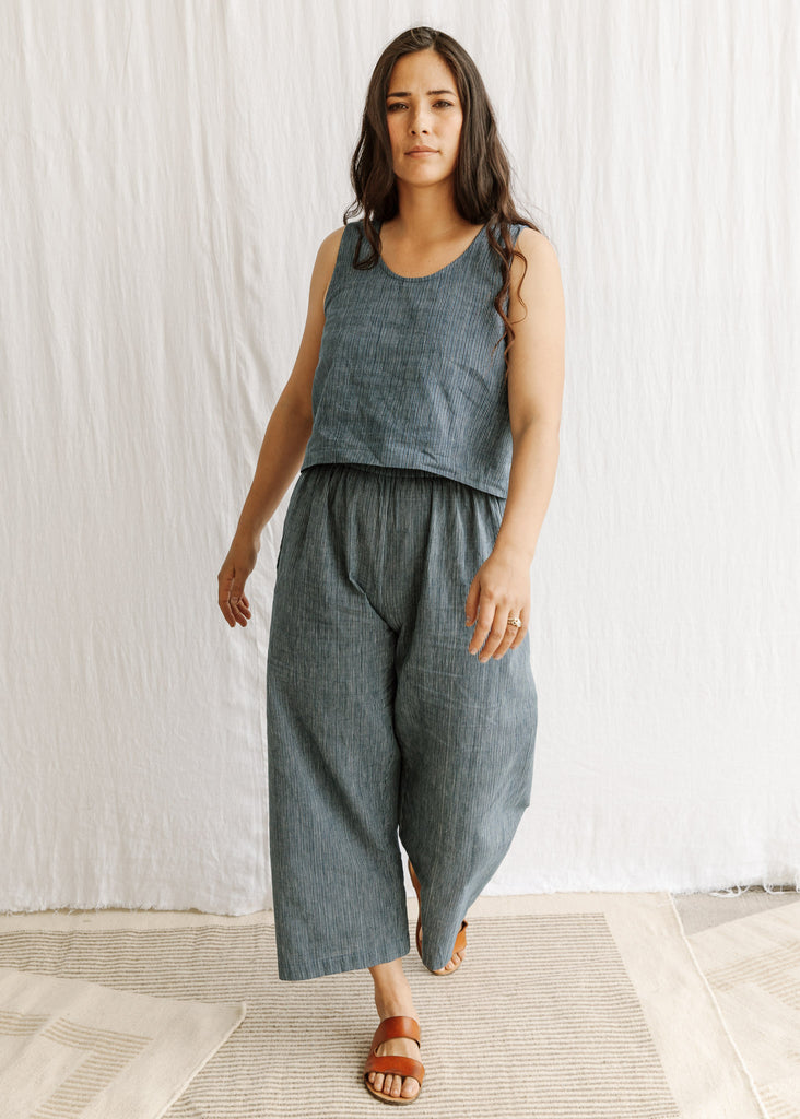 natural organic cotton naturally dyed handwoven pant slowclothes Sustainable fashion sewn and designed by Maiwa Handprints