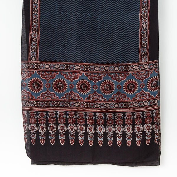 Ajrakh Silk/Cotton Zigzag Scarf - Indigo, Madder & Black