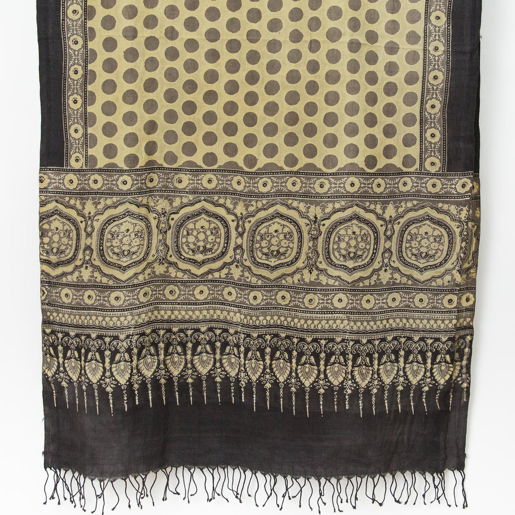 Ajrakh Silk/Cotton Dot Scarf - Sand, Ochre, Black, Ivory