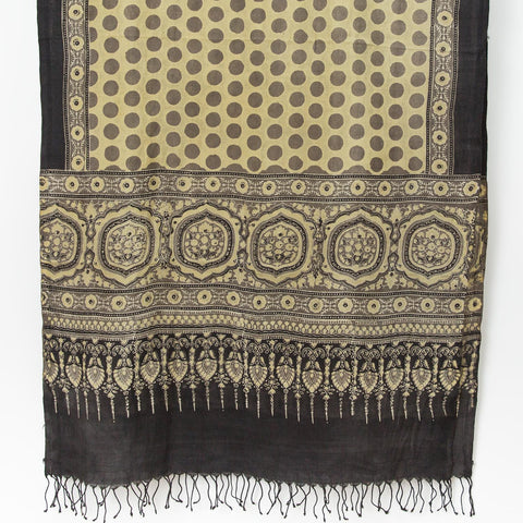 Ajrakh Silk/Cotton Dot Scarf - Sand, Ochre & Black