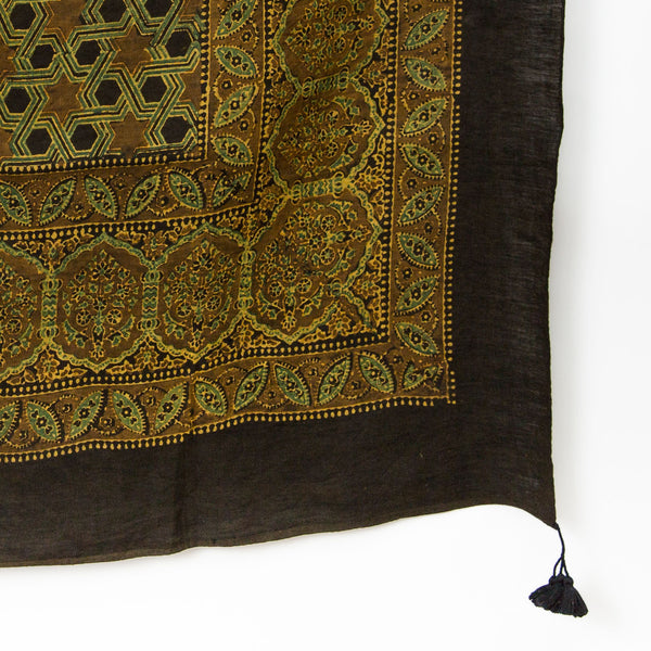 Ajrakh Square Linen Shawl - Ochre, Walnut & Black