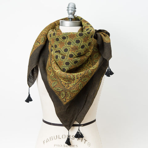 Ajrakh - Square Linen Shawl - Ochre, Walnut & Black