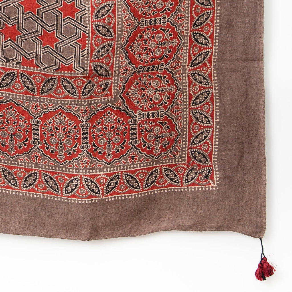 Ajrakh Square Linen Shawl - Madder & Dusty Mauve