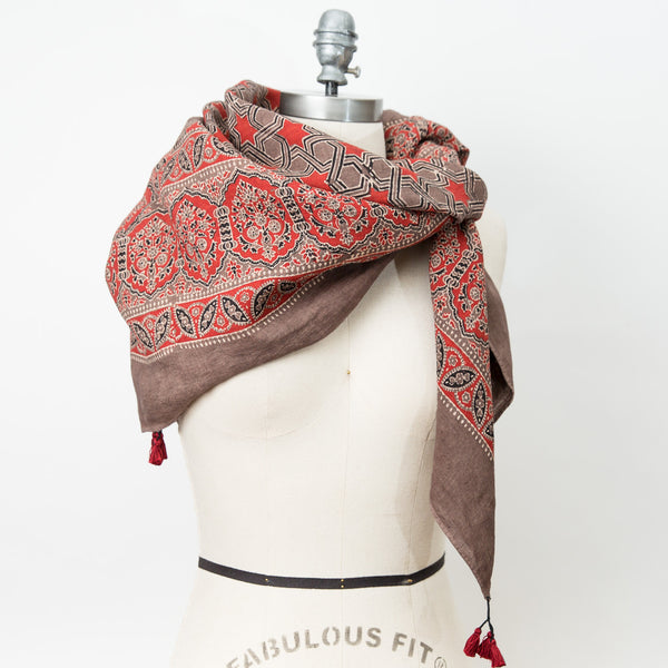 Ajrakh - Square Linen Shawl - Madder & Dusty Mauve