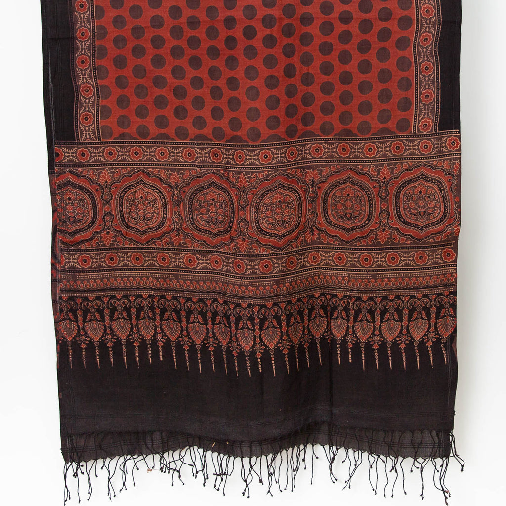 Ajrakh Silk/Cotton Dot Scarf - Madder, Slate, Natural, Black