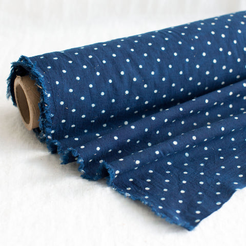 Fabric - Organic Cotton Block Printed with Natural Dyes - Indigo & White Polka Dots
