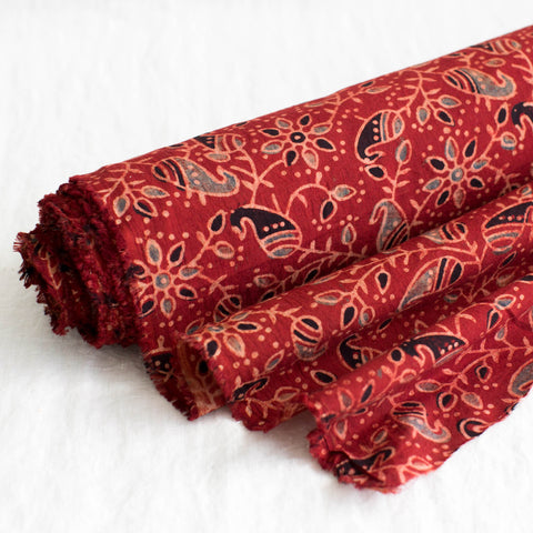 Fabric - Organic Cotton Block Printed with Natural Dyes - Paisley Vine Design Red Background