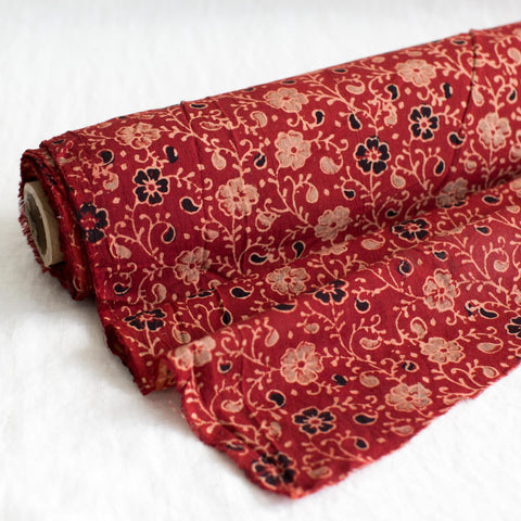 Fabric - Organic Cotton Block Printed with Natural Dyes - Flower Vine Design Red Background