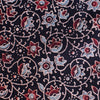 Fabric - Organic Cotton Block Printed with Natural Dyes - Flower Vine Design Black Background