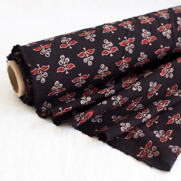 Fabric - Organic Cotton Block Printed with Natural Dyes - Buti Design Black Background