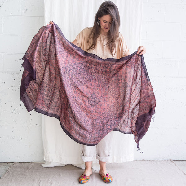 Ajrakh - Wild Tussar Silk Shawl - Diamond Tile