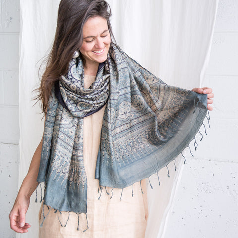 Wild Tussar Silk Shawl - Ajrakh - Indigo Monsoon