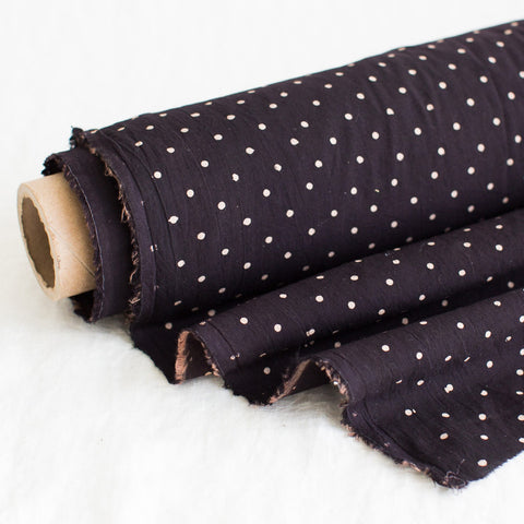 Fabric - Organic Cotton Block Printed with Natural Dyes - Black & White Polka Dots