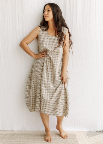 natural organic cotton naturally dyed dress summer slowclothes Sustainable fashion sewn and designed by Maiwa Handprints