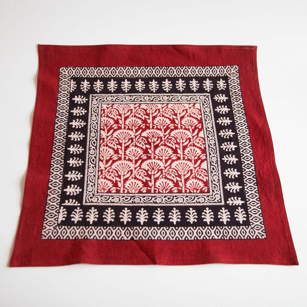 Organic Cotton Napkin - Bagh Print - Red Rustic Palm