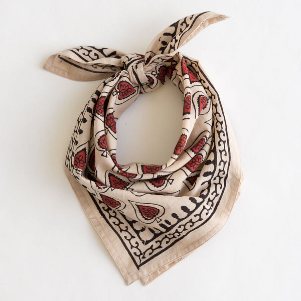 organic cotton naturally dyed hand block printed black, red and natural bandana