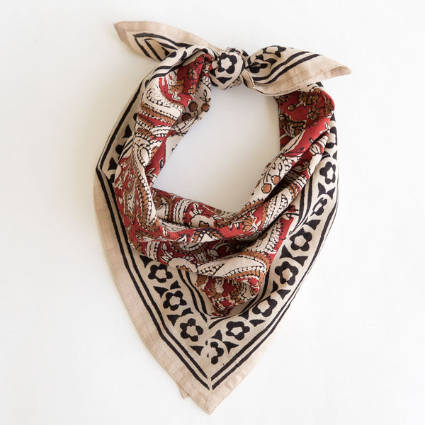 organic cotton naturally dyed hand block printed dabu black, red and natural bandana