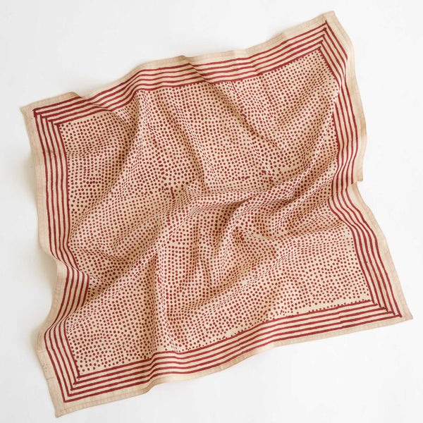 organic cotton naturally dyed hand block printed dabu red and natural bandana