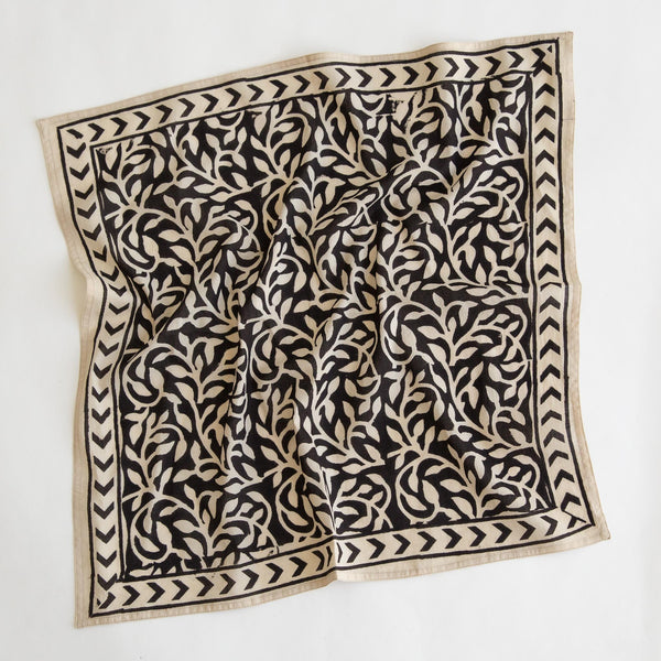 organic cotton naturally dyed hand block printed black and natural bandana