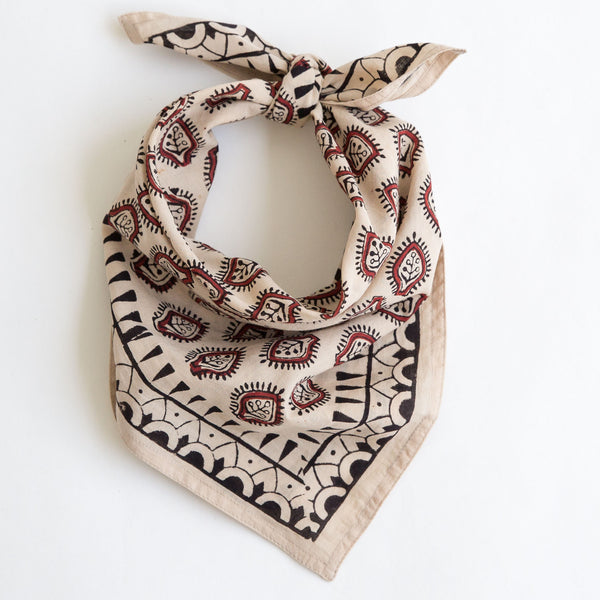 organic cotton naturally dyed hand block printed dabu red, black and natural bandana