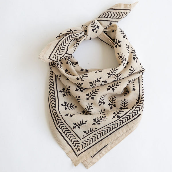 organic cotton naturally dyed hand block printed dabu black and natural bandana