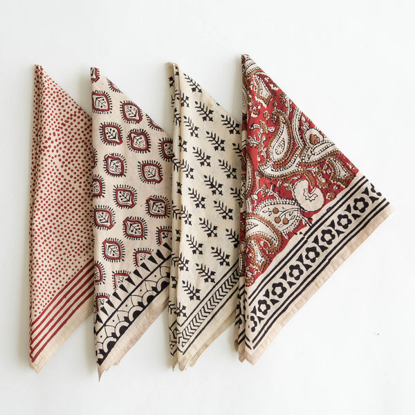 set of 4 organic cotton naturally dyed hand block printed dabu black, red and natural bandanas