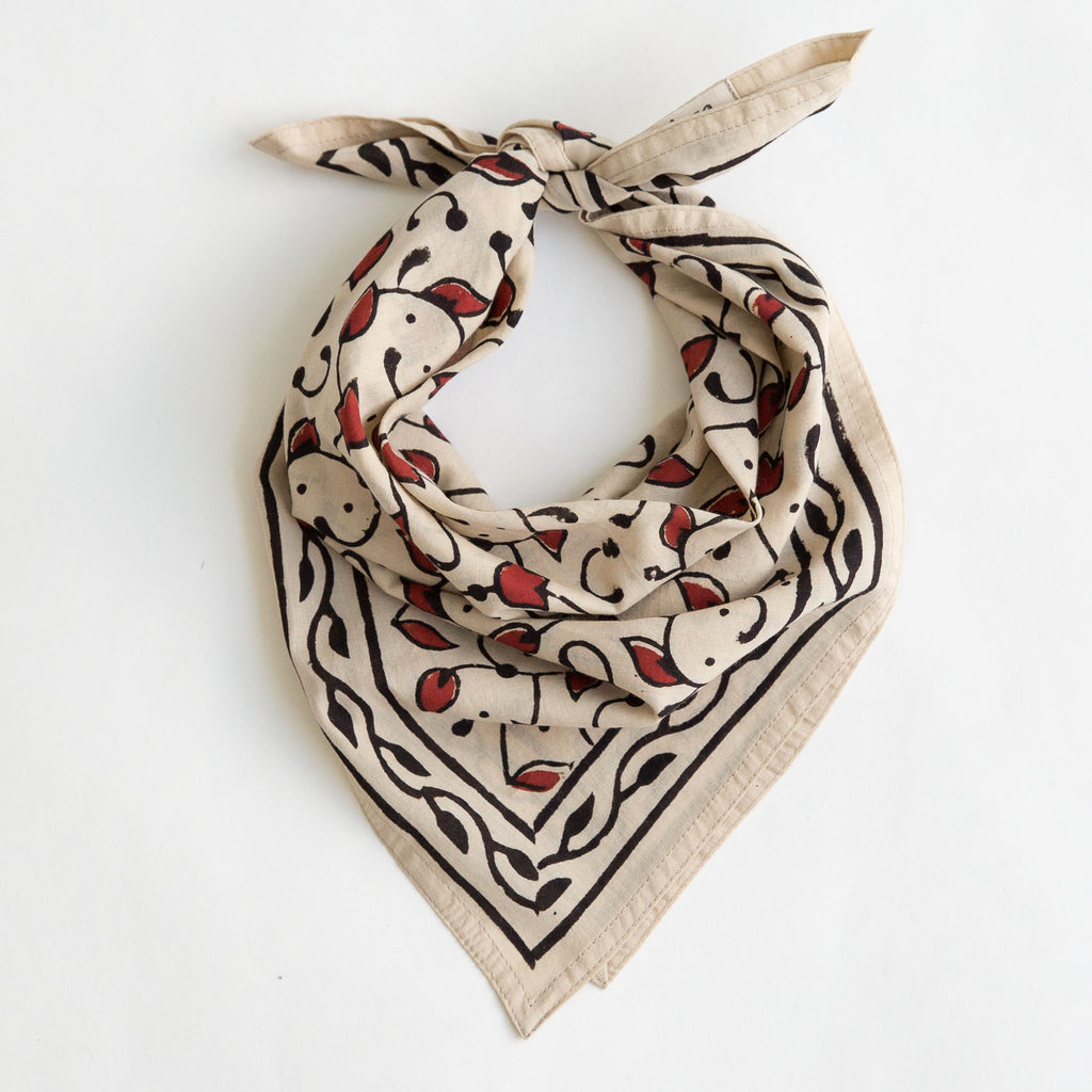 organic cotton naturally dyed hand block printed red, black and natural bandana