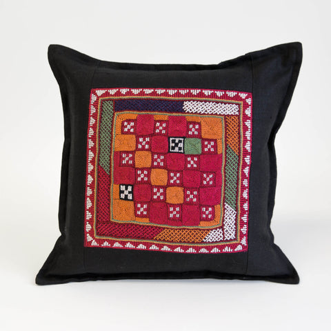 Banjara cushion cover hand embroidered multi colors on black linen by Maiwa