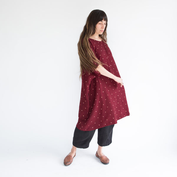 Banyan Dress - Merino Wool - Bandhani Maroon