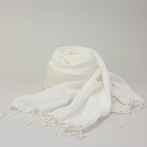 Scarf - Cotton - Gingham Check Weave