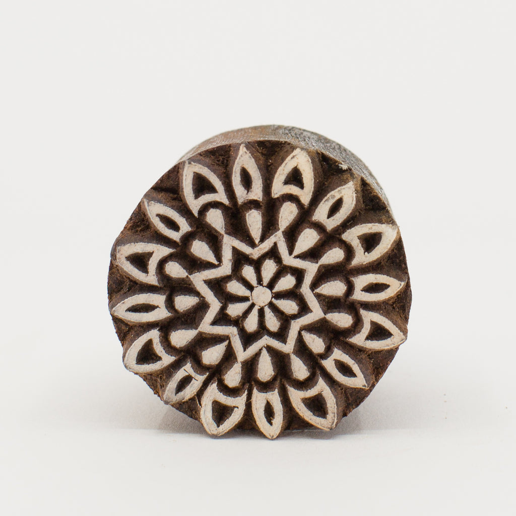 Wood Block - Circle Star Flower