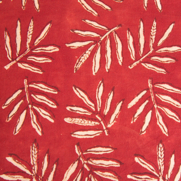 Organic Cotton fabric yardage Block Printed with Natural Dyes in Venetian Red Leaf