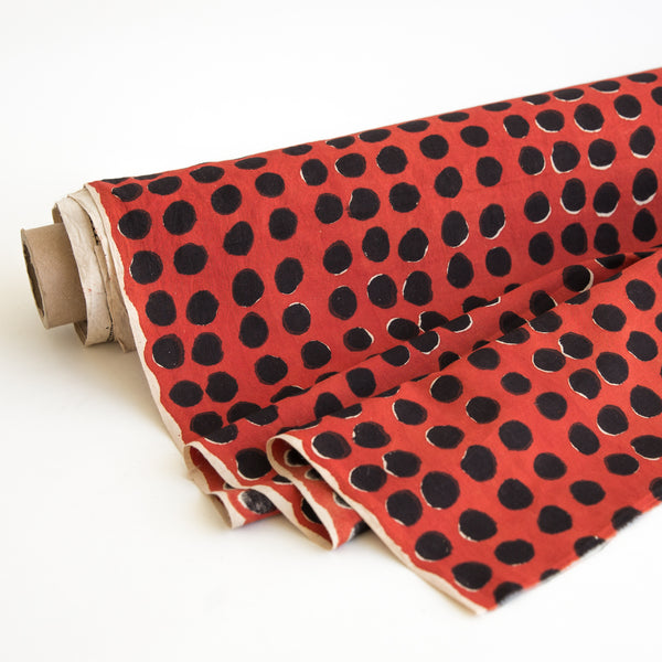 Organic Cotton fabric yardage Block Printed with Natural Dyes in red & black dots